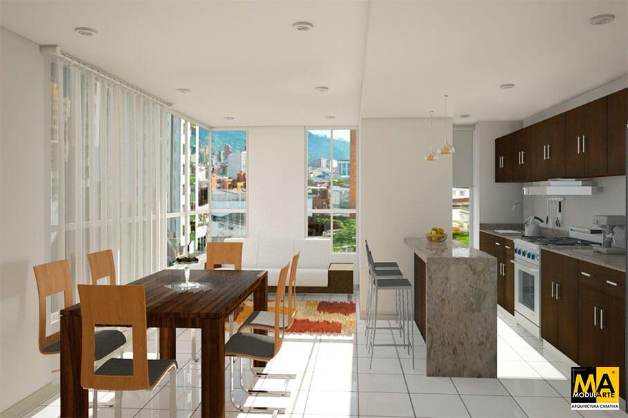 Modularte arquitectura creativa for Diseno de interiores departamentos modernos