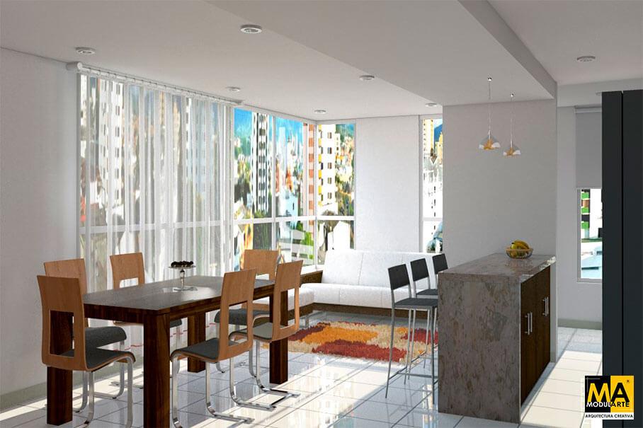 Diseño de Casas y Departamentos Sala-Comedor-Cocina